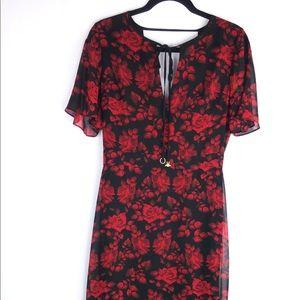 Sam Edelman Women's Red Rose MiDi Tie Neck Size 6